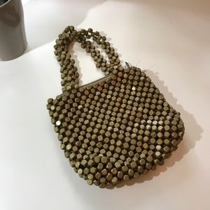 Beaded Mini Olive Green Hand Bag